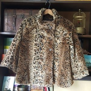 Free people faux fur leopard swing jacket coat
